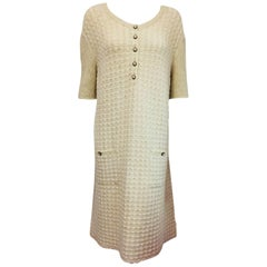 Cozy Chanel Ivory Mohair & Wool Dress with Two Patch Pockets