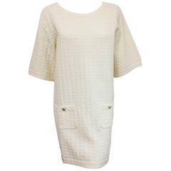 Chanel Cruise Collection White Cotton Blend Dress