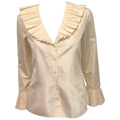 Oscar de la Renta Ivory Silk Taffeta Blouse W Tiered Pleated Collar and Cuffs