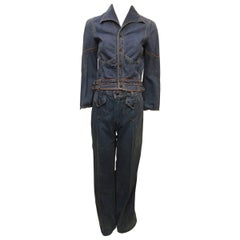 1970s Faded Glory Embroidered Denim Jacket and Jean Set