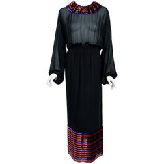 1978 Lanvin Couture Black Sheer Silk Chiffon & Stripe Velvet Billow-Sleeve Gown