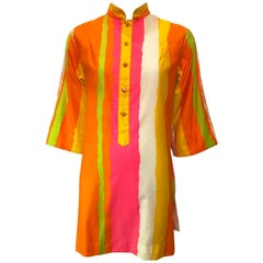1970s Penthouse Gallery Rainbow Tunic Smock Dress