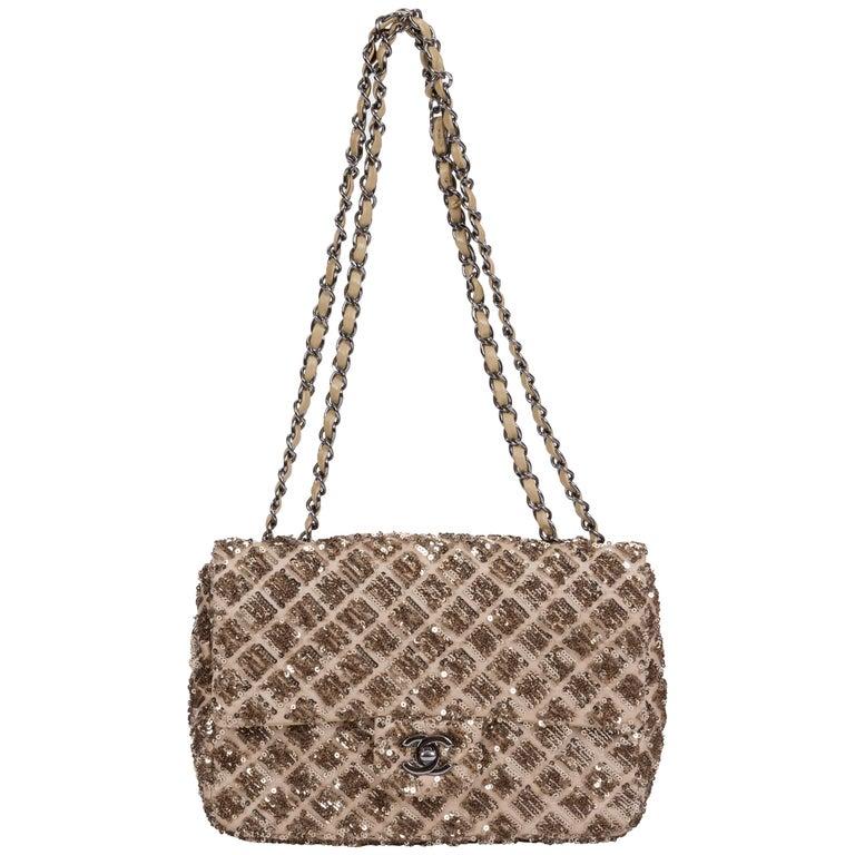 Chanel Beige & Gold Sequins Flap Bag For Sale