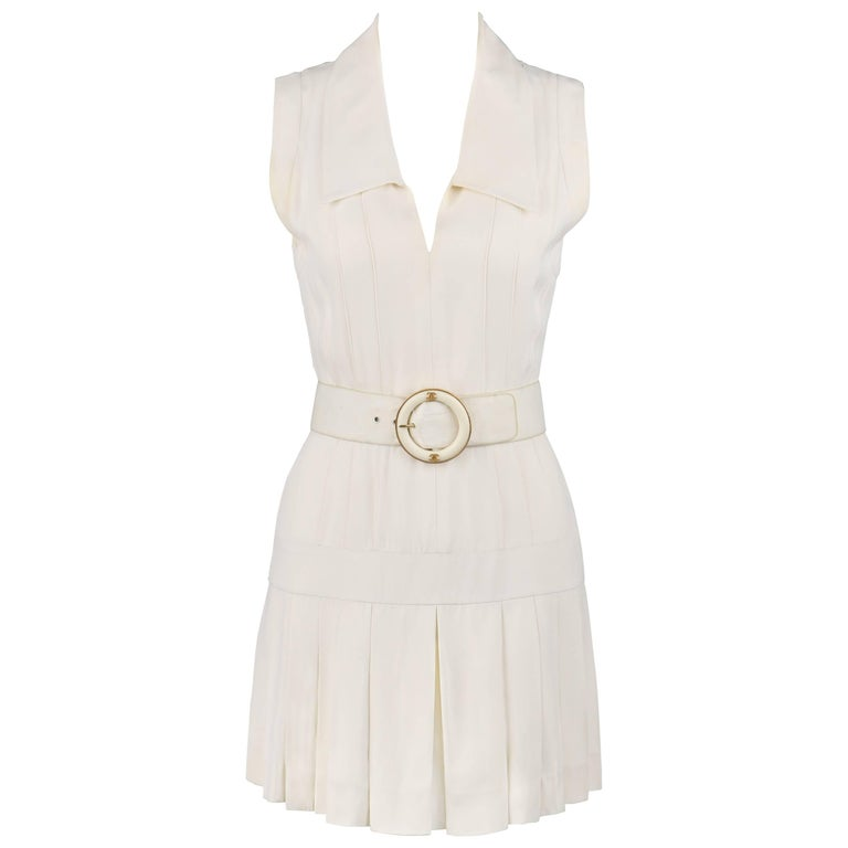 CHANEL Boutique c.1980s White Silk Pleated Drop Waist Shift Dress Signature Belt