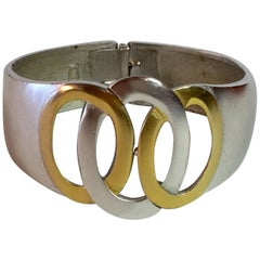 Kunio Matsumoto 1960s TRIFARI Mixed Metals Silver and Goldtone Hinged Bracelet