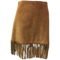 1980s Passport Fringe Suede Skirt
