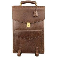 Vintage GUCCI Brown Leather Long Accordion Briefcase