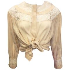 1990s Oleg Cassini Cream Silk Blouse with Lace