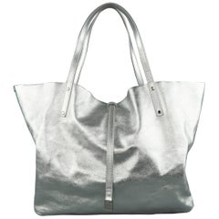 TIFFANY & CO. Metallic Silver Leather & Blue Suede Reversible Shopper Tote Bag