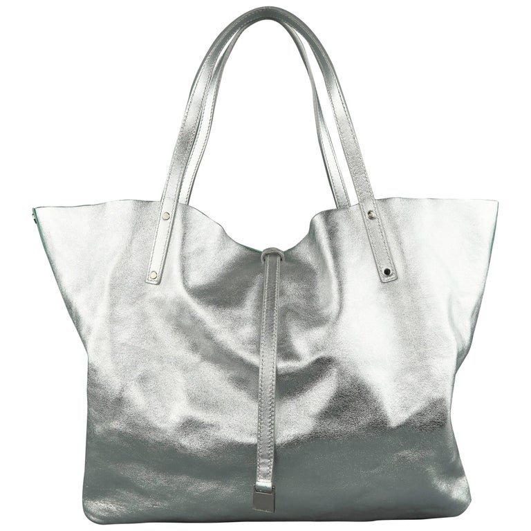 d5d92a93f1 TIFFANY & CO. Metallic Silver Leather & Blue Suede Reversible Shopper Tote  Bag ...