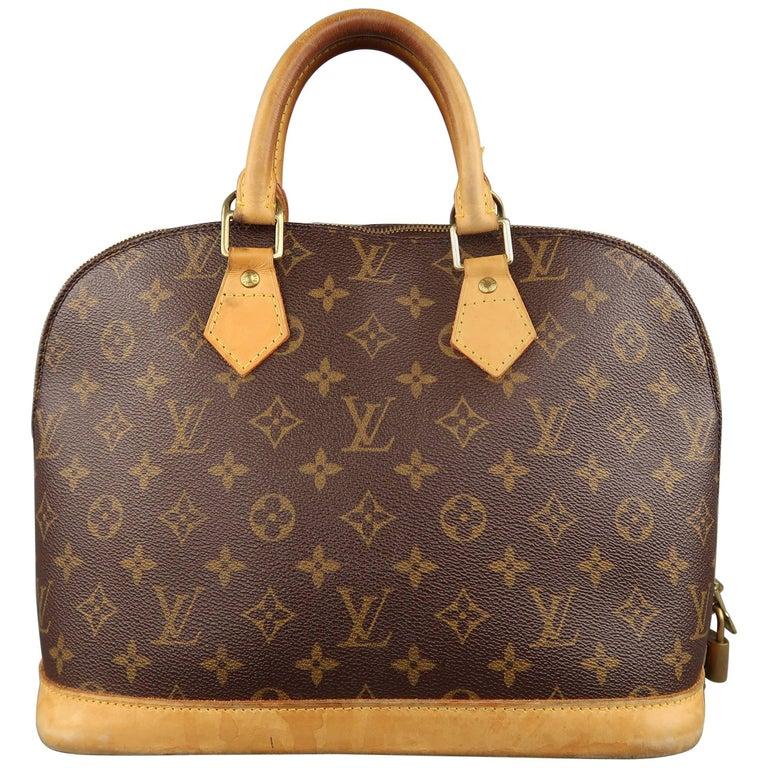 LOUIS VUITTON Handbag Brown Monogram Canvas ALMA PM Top Handles Bag