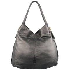 GIVENCHY TINHAN Hobo Einkaufstasche aus Schwarzem Leder mit Goldenem Reißverschluss