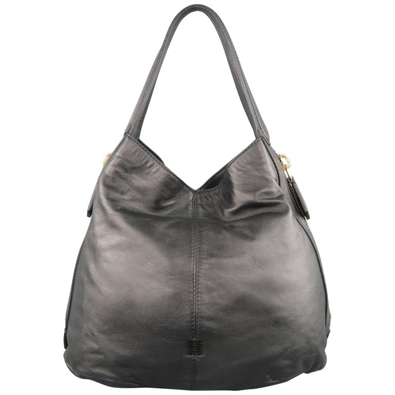 GIVENCHY Black Leather Gold Zip Expandable TINHAN SHOPPER Hobo Tote Handbag