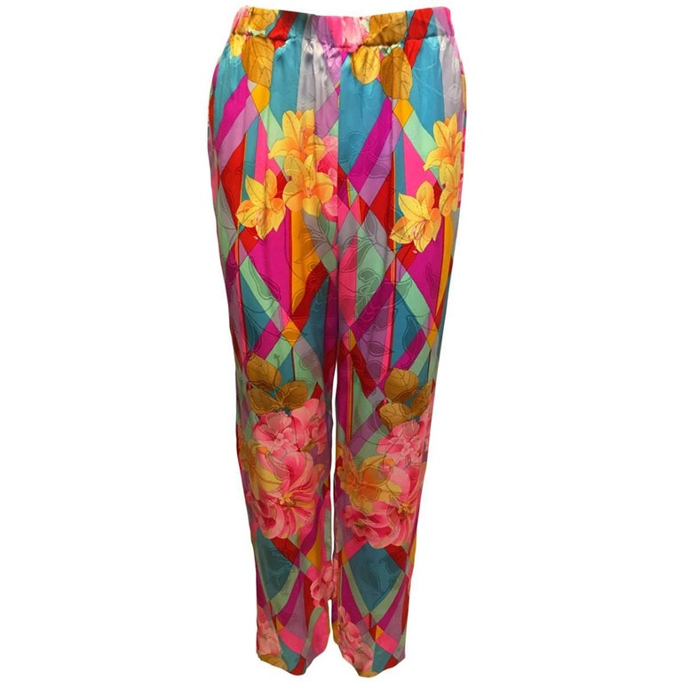 1990s Bright and Happy Silk Pants