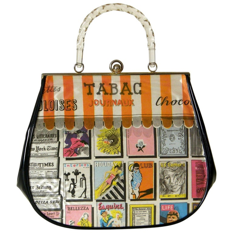 Garay Novelty Handbag with Newsstand Print Fabric