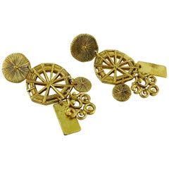 Christian Lacroix Vintage Gold Toned Wheel Dangling Earrings