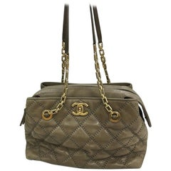 Chanel Retro Chain Zip Satchel Quilted Calfskin Small
