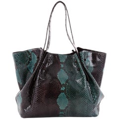 Nancy Gonzalez Pleated Tote Python with Crocodile Large