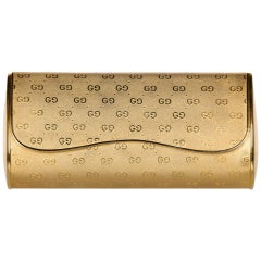 1970s Gucci Gold Metal Logo Hard Shell Clutch Minaudière Bag