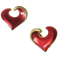 Yves Saint Laurent Enamel Heart Earrings, 1980s