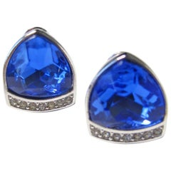Yves Saint Laurent Blue Glass and Rhinestone Earrings, 1980s