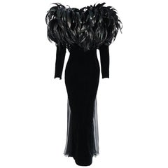 1990 Christian Dior Haute-Couture Black Velvet Feather Hourglass Fishtail Gown