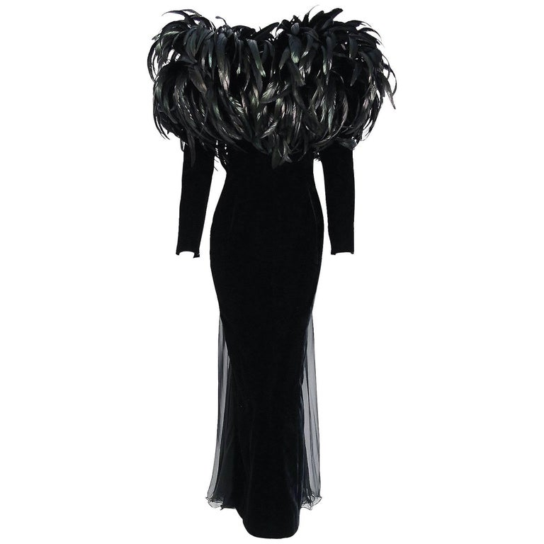 1990 Christian Dior Haute-Couture Black Velvet Feather Hourglass Fishtail Gown For Sale