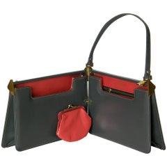 Book Hinged Gray Leather Handbag by Magda Makay