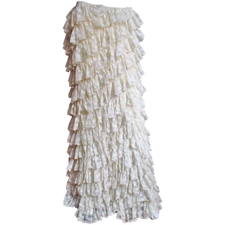 1990s Alexander McQueen Lace Ruffle Skirt