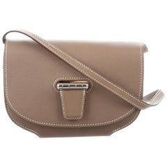 Hermes Nude Leather Whip Stitch Saddle 2 in 1 Clutch Evening Shoulder Flap Bag