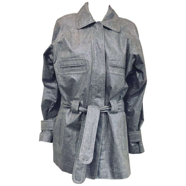 Chanel Blue Linen Belted Trench Jacket