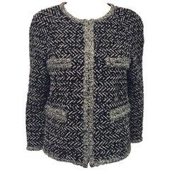 Classic Chanel Black White and Grey Zig Zag Woven Jacket w/Metallic Trim Size 48