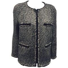 Chanel Black & White Wool Blend Slub Tweed Jacket Sz 48