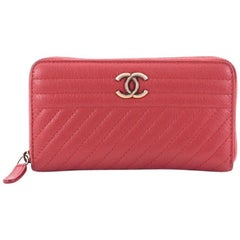 Chanel Zip Around Wallet Diagonal Quilted Leather Compact