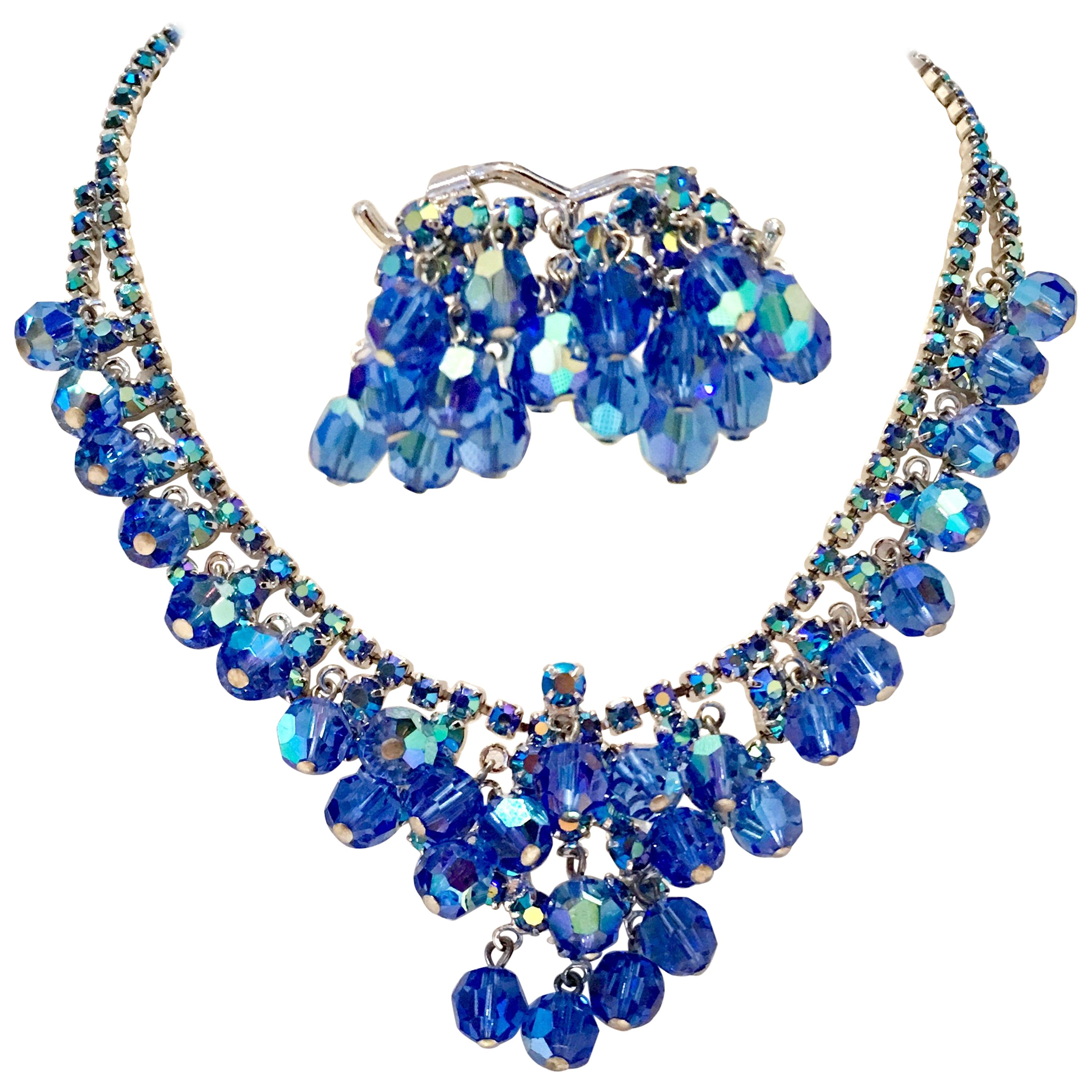 a05ca582c5f00 60'S Silver Swarovski Crystal & Glass Bead Necklace & Earrings Set Of 3  Pieces