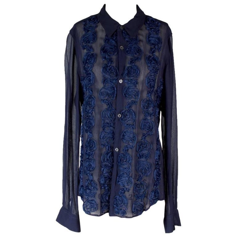Comme Des Garcons Navy Blue Sheer Button Down with Rosettes
