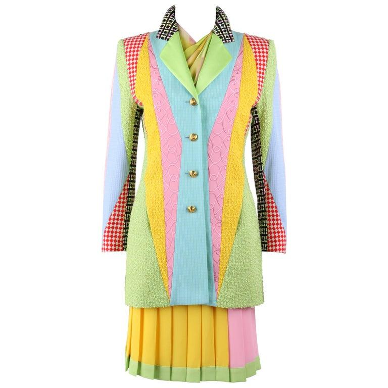 ESCADA Margaretha Ley c.1980's 3 Pc Patchwork Blazer Skirt Suit Set w/ Scarf NOS