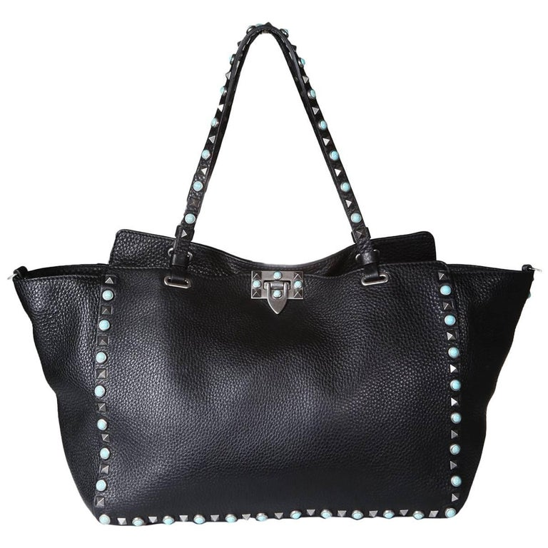 Valentino Black Leather Rockstud Tote  For Sale