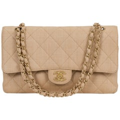 Chanel Beige Straw Classic Double Flap Bag