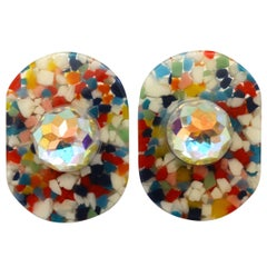 Missoni Lucite Confetti Rhinestone Earrings, 1980s