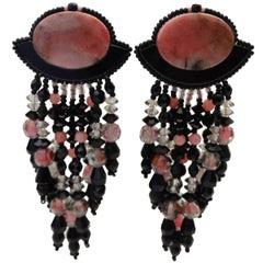 1980s Western Inspired Black & Pink Marble Dangle Earrings