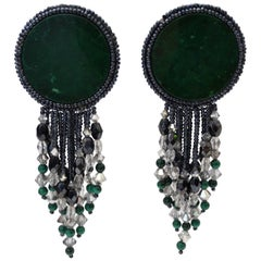 1980s Statement Green Marble Circle Beaded Dangle Earrings
