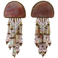 1980s Pink Marble Stone Beaded Dangle Earrings