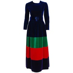 1964 Nina Ricci Couture Silk-Velvet Rainbow Stripe Block Color Belted Maxi Dress