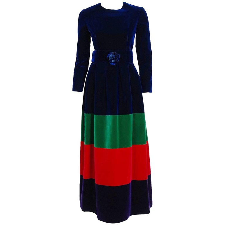 1964 Nina Ricci Couture Silk-Velvet Rainbow Stripe Block Color Belted Maxi Dress For Sale