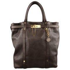 Lanvin Brown Leather Gold Lock Tote Handbag