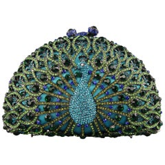 LUXMOB Turquoise Rhinestone Peacock Evening Clutch Handbag
