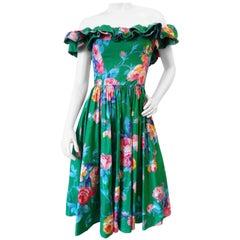 1980s S.G. Gilbert Ruffle Floral Off The Shoulder Dress