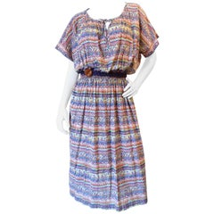 1970s Missoni for Bloomingdales Printed Belted Peasant Dress