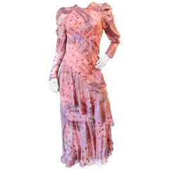 1980s Judy Hornby Couture Pink Puff Sleeve Dress